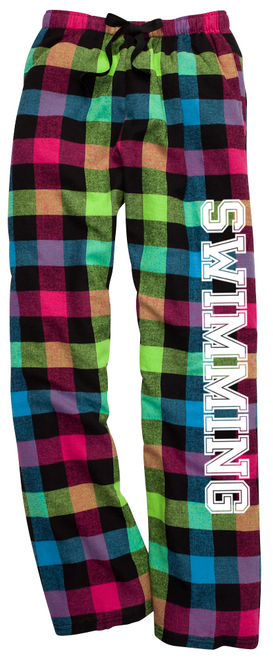 Swimming Neon Flannel Pants with White Leg Logo