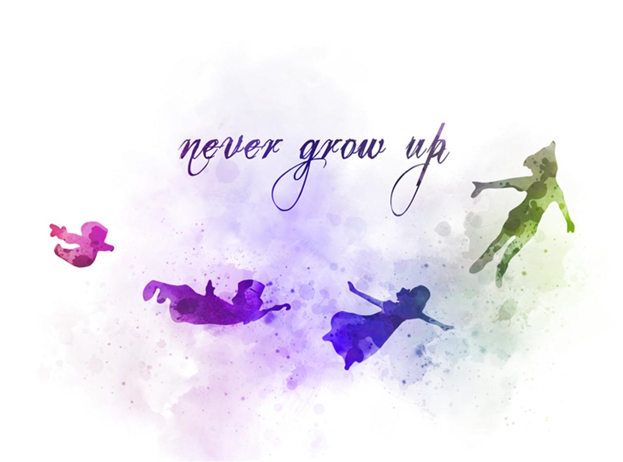 Peter Pan Quote Art Print Never Grow Up Nursery Gift Wall Art