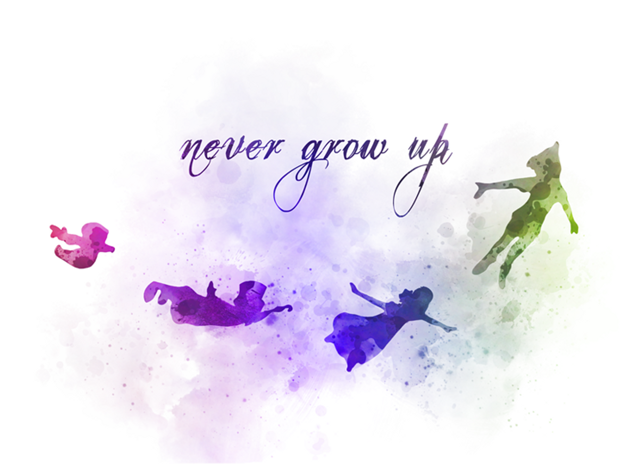 Peter Pan Quote Art Print Never Grow Up Nursery Gift Wall Art