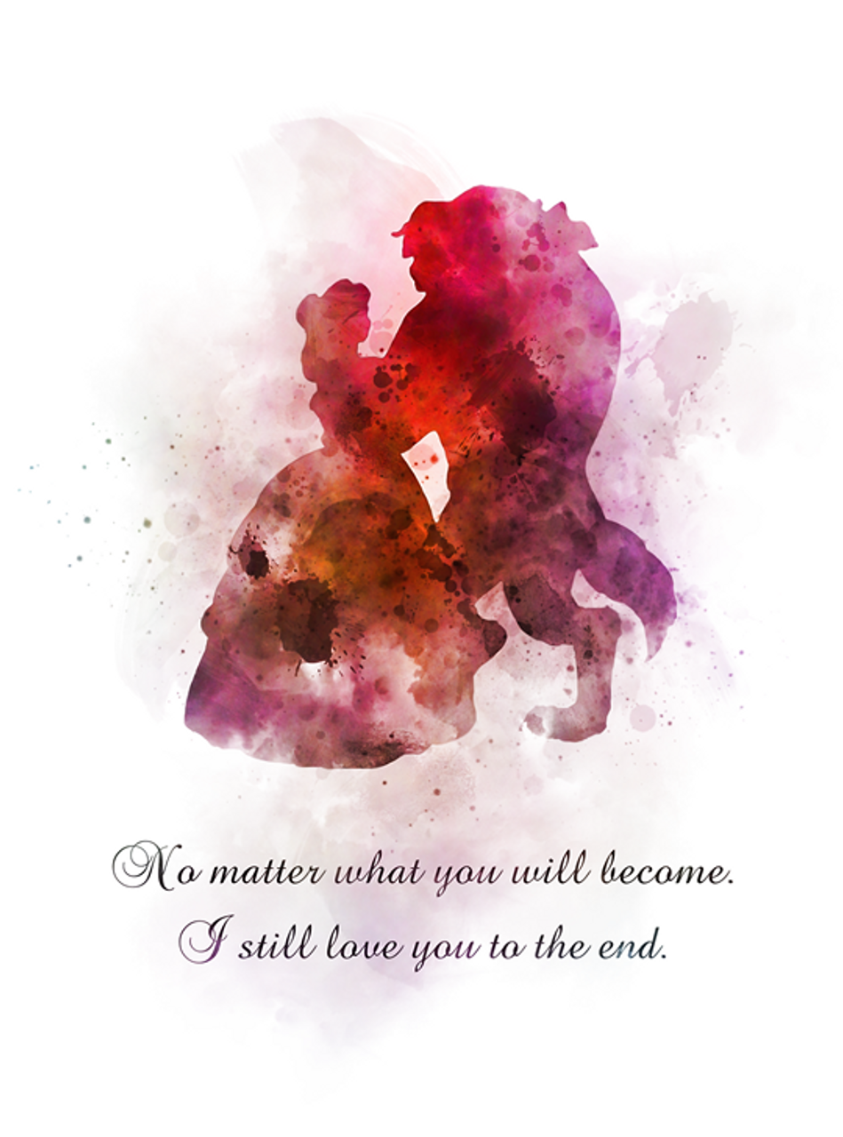 Tale as old as Time Love Gift ART PRINT Beauty and the Beast Quote Disney