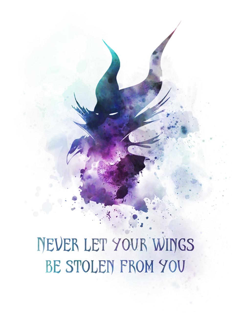 Maleficent Quote Art Print Sleeping Beauty Never Let Your Wings Be Stolen From You Fairy Tale Gift Wall Art Home Decor