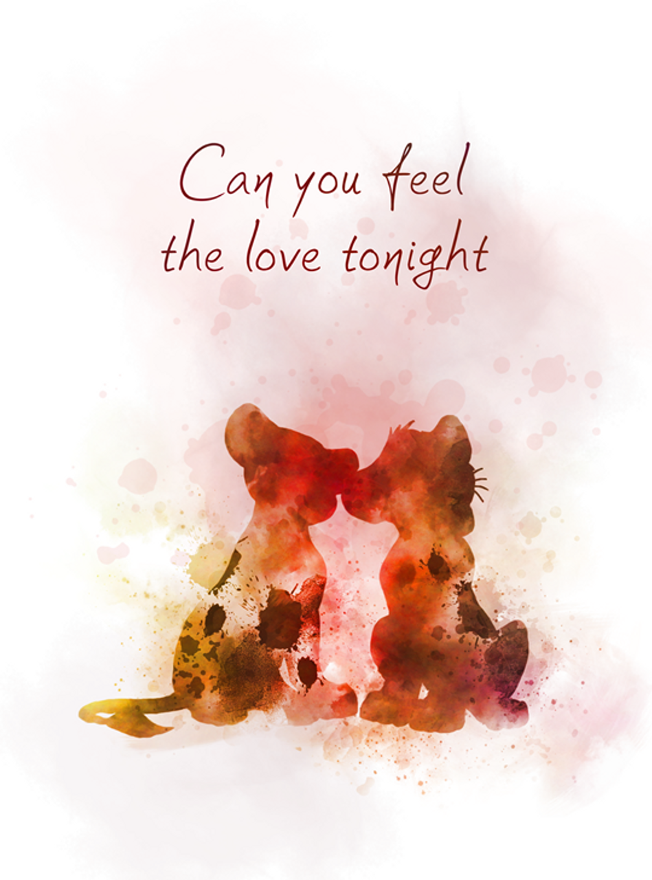 Can you feel the love tonight ART PRINT The Lion King Quote, Song, Nursery,  Gift, Wall Art, Home Decor
