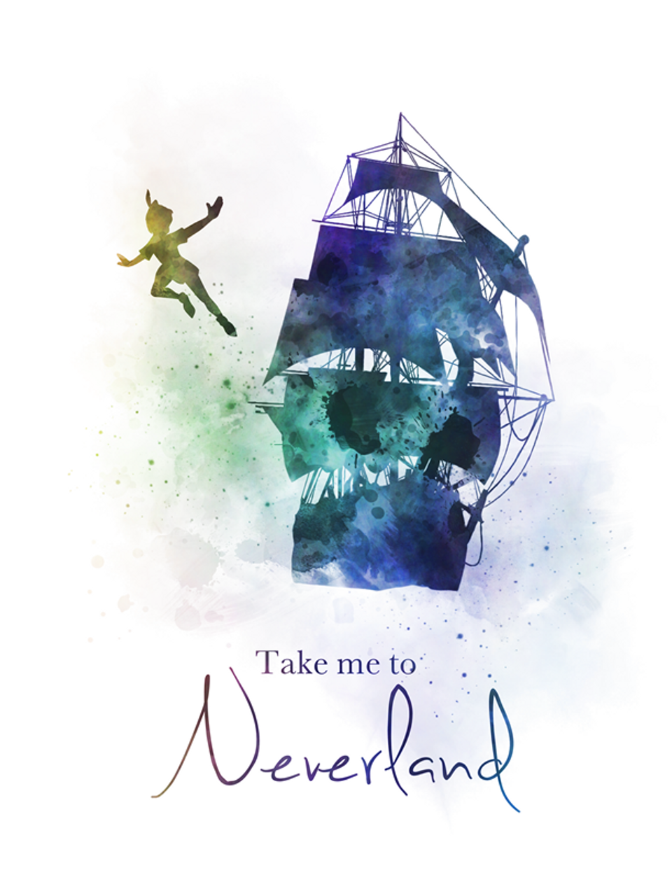 Peter Pan Quote ART PRINT Neverland Gift Nursery Home Decor Wall Art Jolly Roger