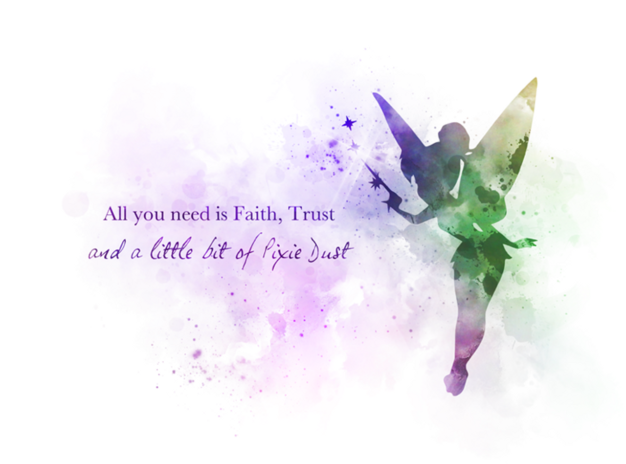 Tinker Bell Quote Art Print Peter Pan Fairy Nursery Gift Wall