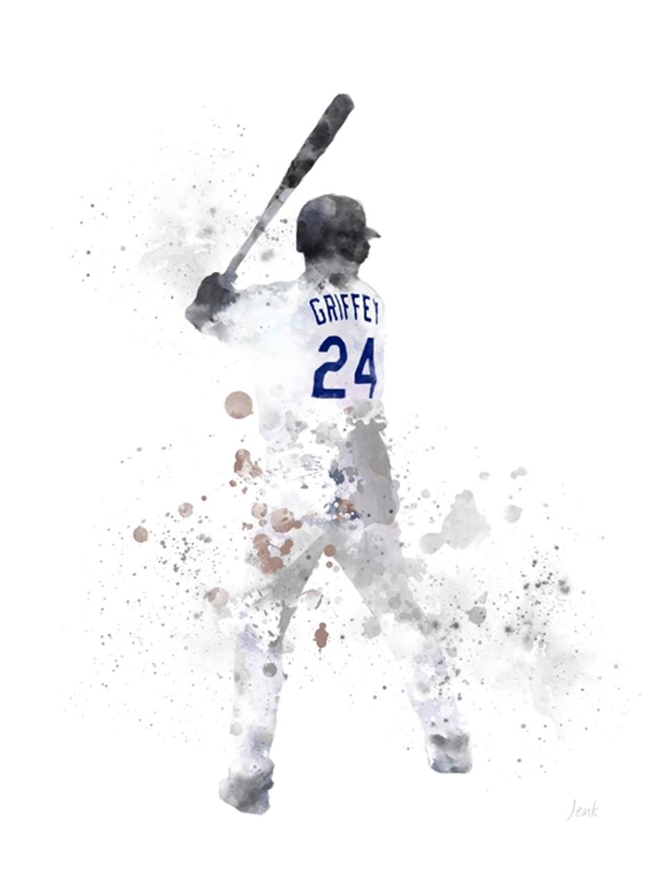 ef90e77dc8 Ken Griffey Jr ART PRINT Seattle Mariners, Sport, Baseball, Gift ...