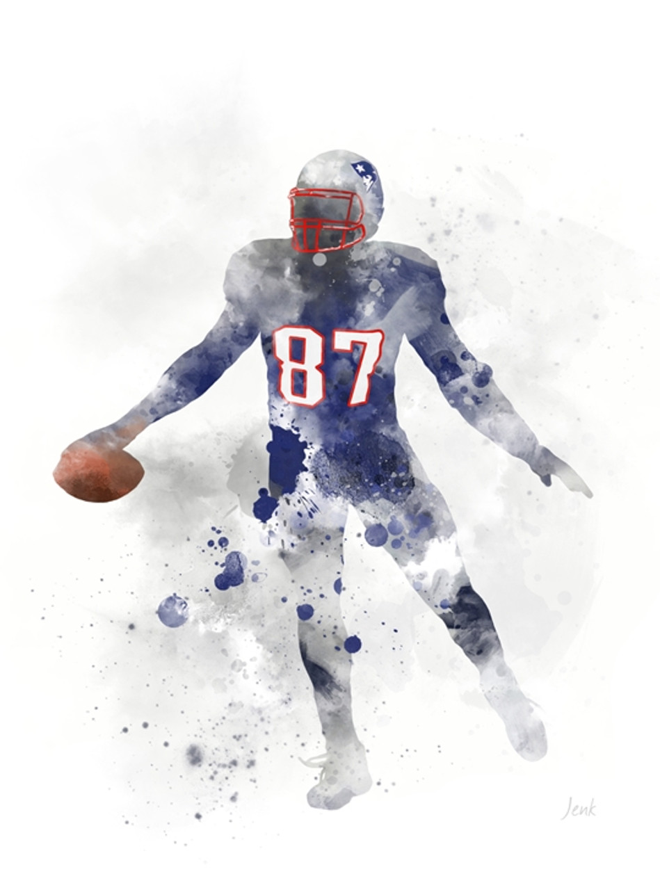 New England Patriots Home Decor.Rob Gronkowski Art Print New England Patriots Sport American Football Gift Wall Art Home Decor