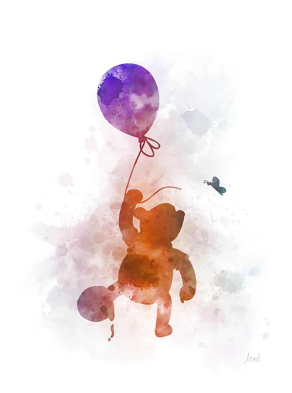 Winnie the Pooh ART PRINT Balloon, Nursery, Gift, Wall Art, Home Decor