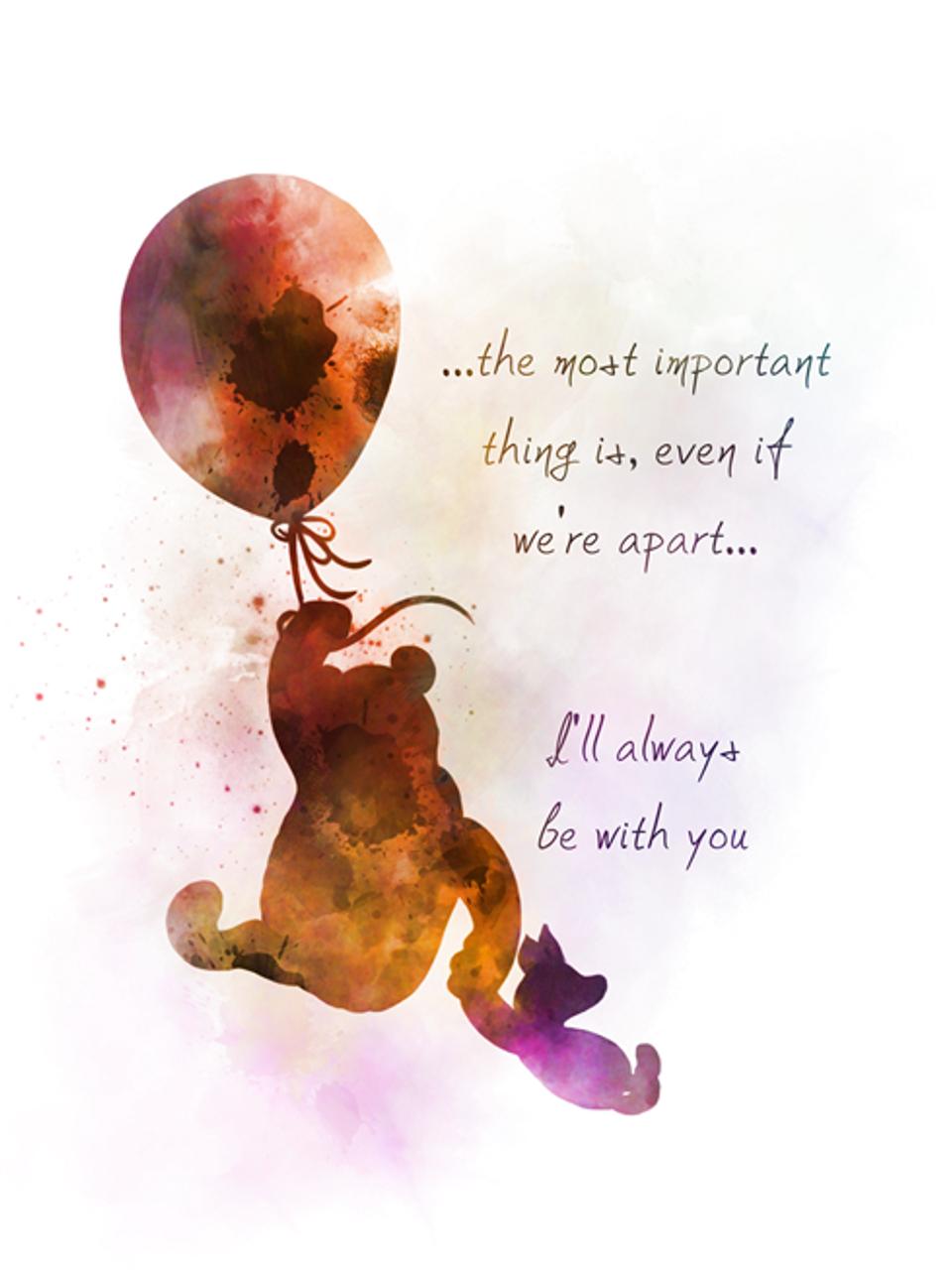 Winnie the Pooh Quote ART PRINT, Balloon, Piglet, Nursery, Gift, Wall Art,  Home Decor