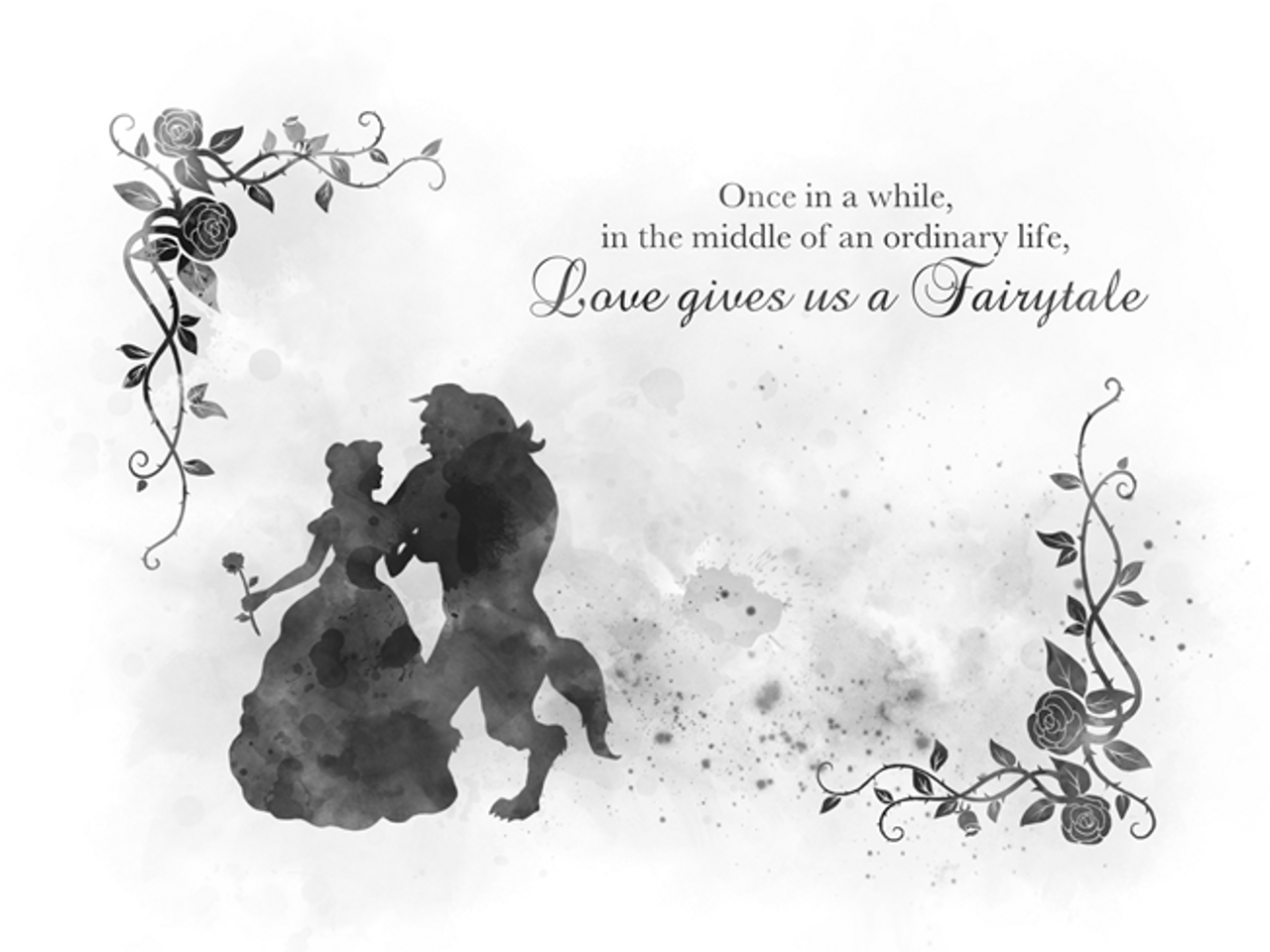 Beauty and the beast quote black and white