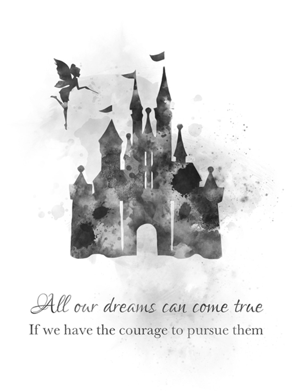 disney castle quote art print princess tinker bell gift nursery