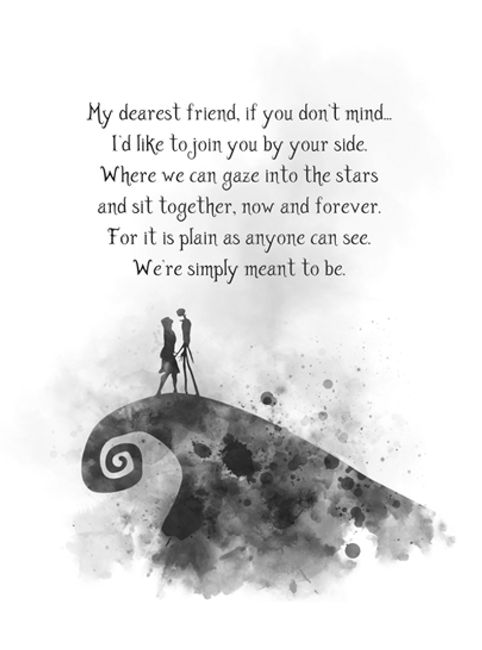 Nightmare Before Christmas Images Black And White.Nightmare Before Christmas Quote Art Print Jack And Sally My Dearest Friend Gift Wall Art Home Decor Black And White