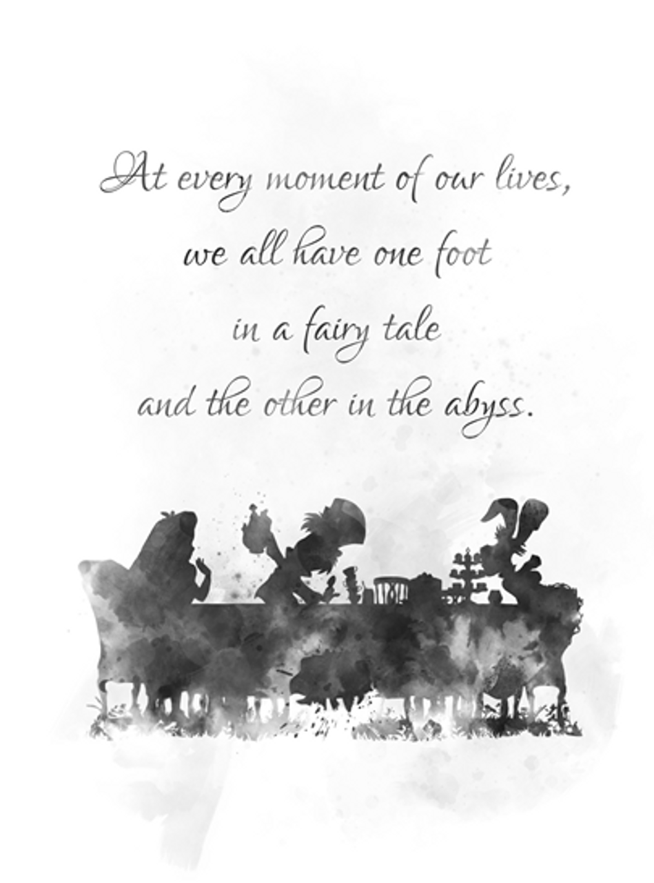 Alice In Wonderland Tea Party Quote Art Print Mad Hatter Gift Wall Art Home Decor Black And White My Subject Art