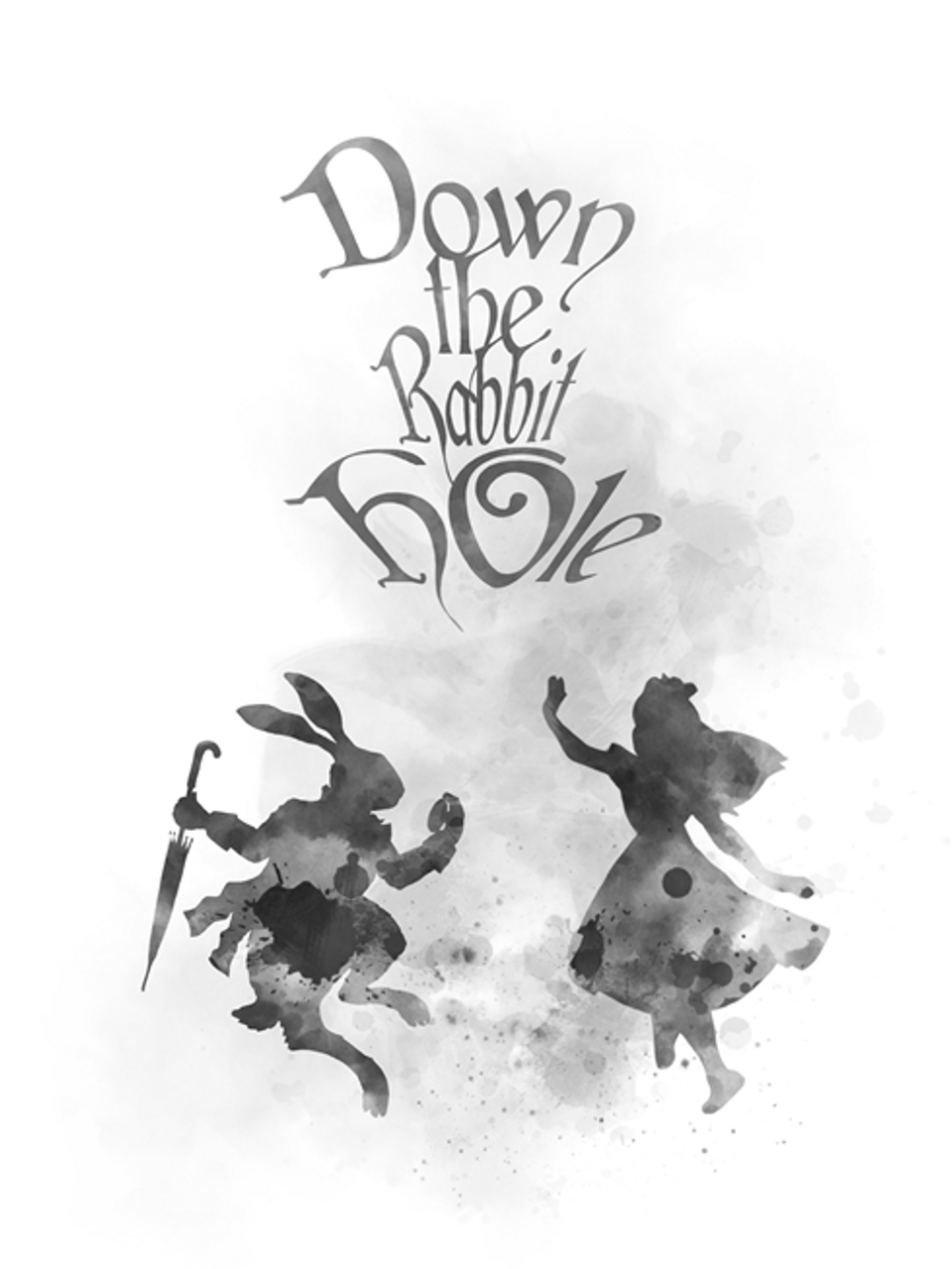 Alice In Wonderland Down The Rabbit Hole Quote Art Print Gift Nursery Wall Art Home Decor Black And White My Subject Art