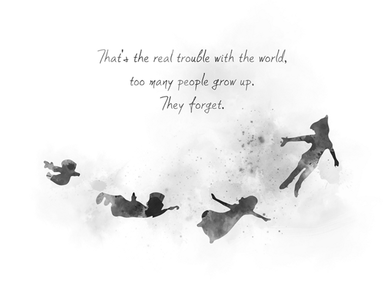 Peter Pan Quote ART PRINT Inspirational, Nursery, Gift, Wall Art, Home  Decor, Black and White
