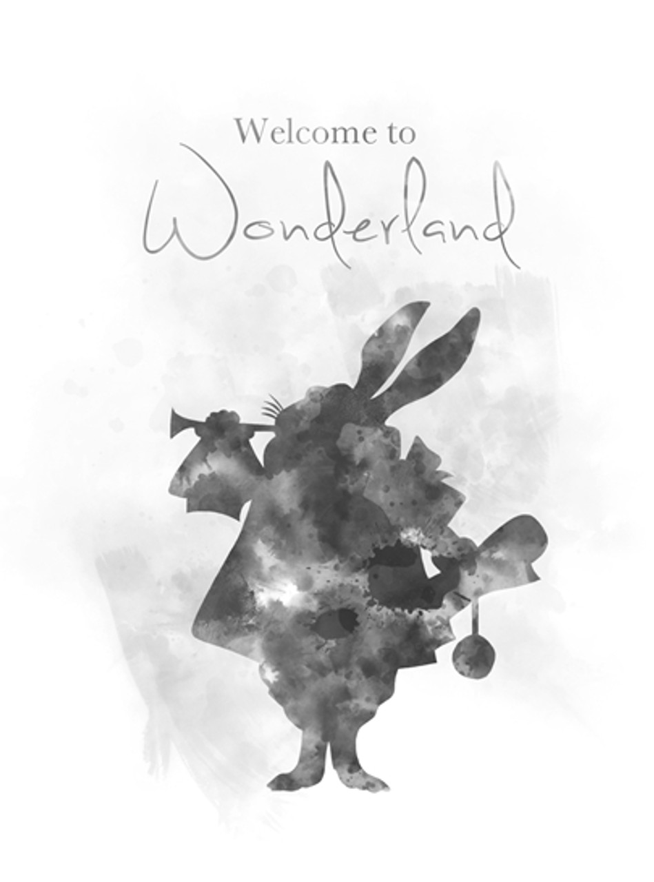 Alice In Wonderland Quote Art Print Welcome To Rabbit Nursery Gift Wall Home Decor Black And White My Subject
