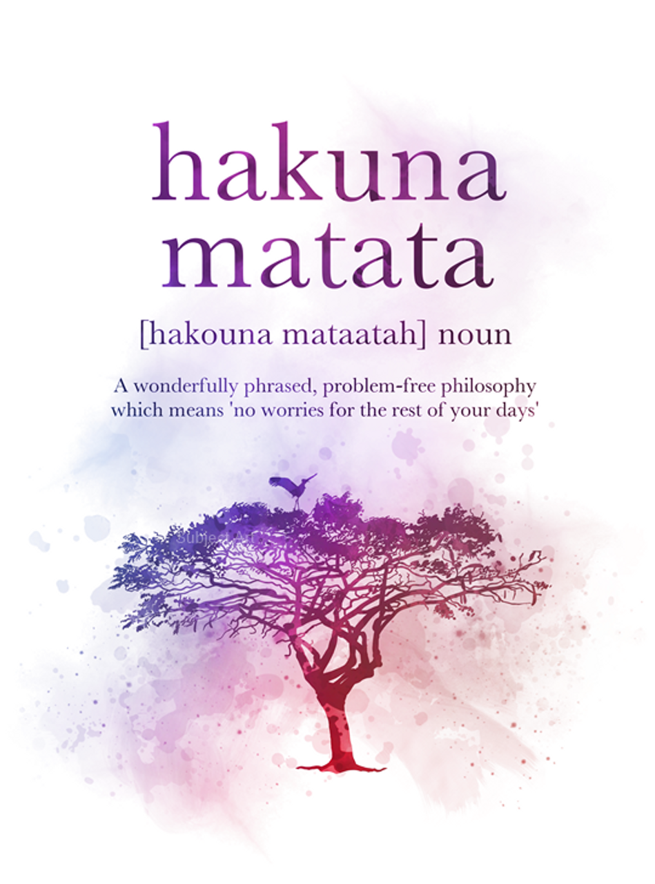 Hakuna Matata Definition Quote ART PRINT Lion King, Gift, Wall Art, Home  Decor