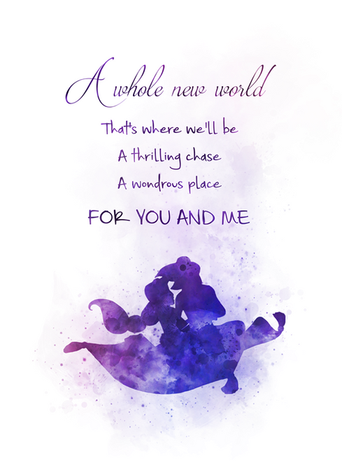 Aladdin And Jasmine Quote Art Print A Whole New World