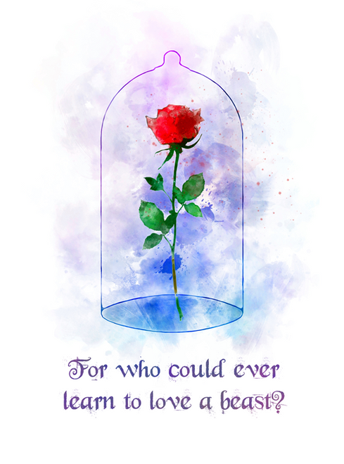 Enchanted Rose Quote Art Print Beauty And The Beast Love Flower