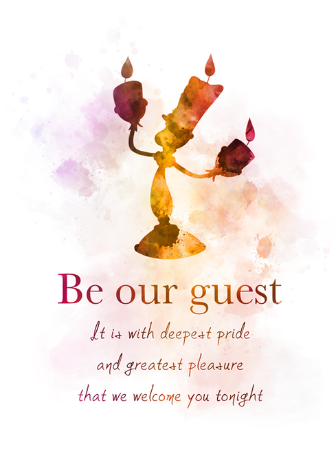 Beauty And The Beast Quote Art Print Be Our Guest Lumiere Song