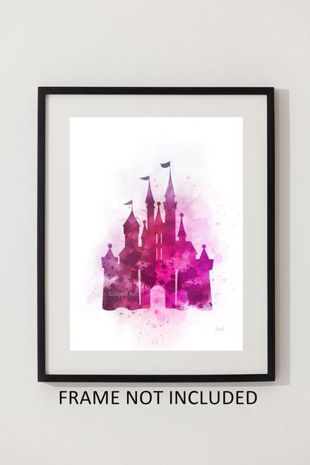Cinderella Castle Pink Art Print Nursery Princess Gift Wall Art Home Decor My Subject Art
