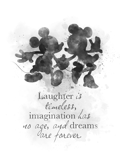 Mickey and Minnie Mouse Quote ART PRINT Nursery, Gift, Wall Art, Home  Decor, Black and White