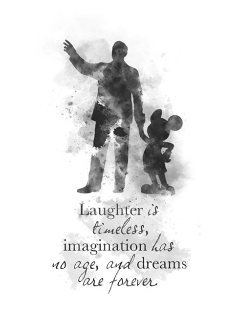 Walt Disney Mickey Mouse Quote ART PRINT Nursery, Gift, Wall Art, Home  Decor, Black and White