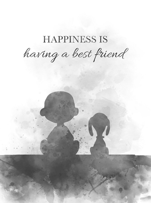 Charlie Brown Quote ART PRINT Happiness, Friendship, Inspirational, Gift,  Wall Art, Home Decor, Black and White