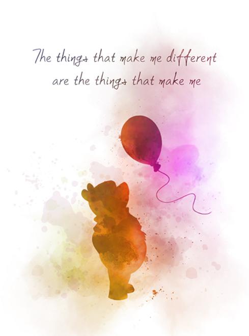 Wall Art Balloon Piglet B /& W Nursery ART PRINT Winnie the Pooh Quote Gift