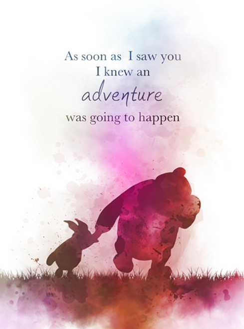 Winnie the Pooh Quote ART PRINT Piglet, Adventure, Nursery, Gift ...