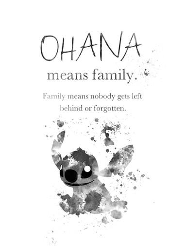 Ohana Quote Art Print Lilo And Stitch Nursery Family