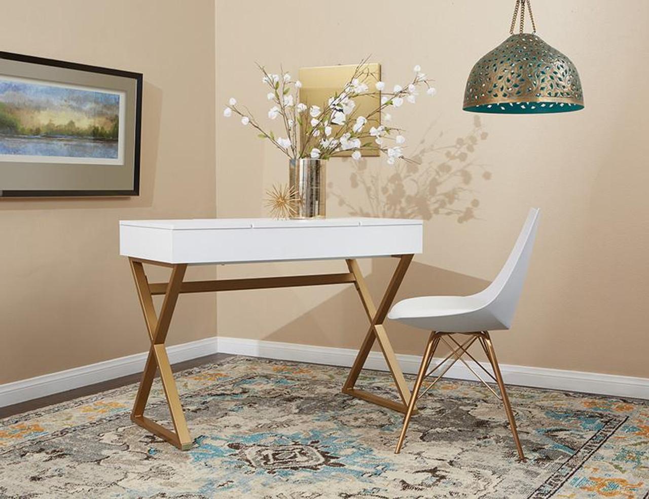 Office Star Juliette Vanity Desk With White Top And Gold Legs K D Jul789v Wh