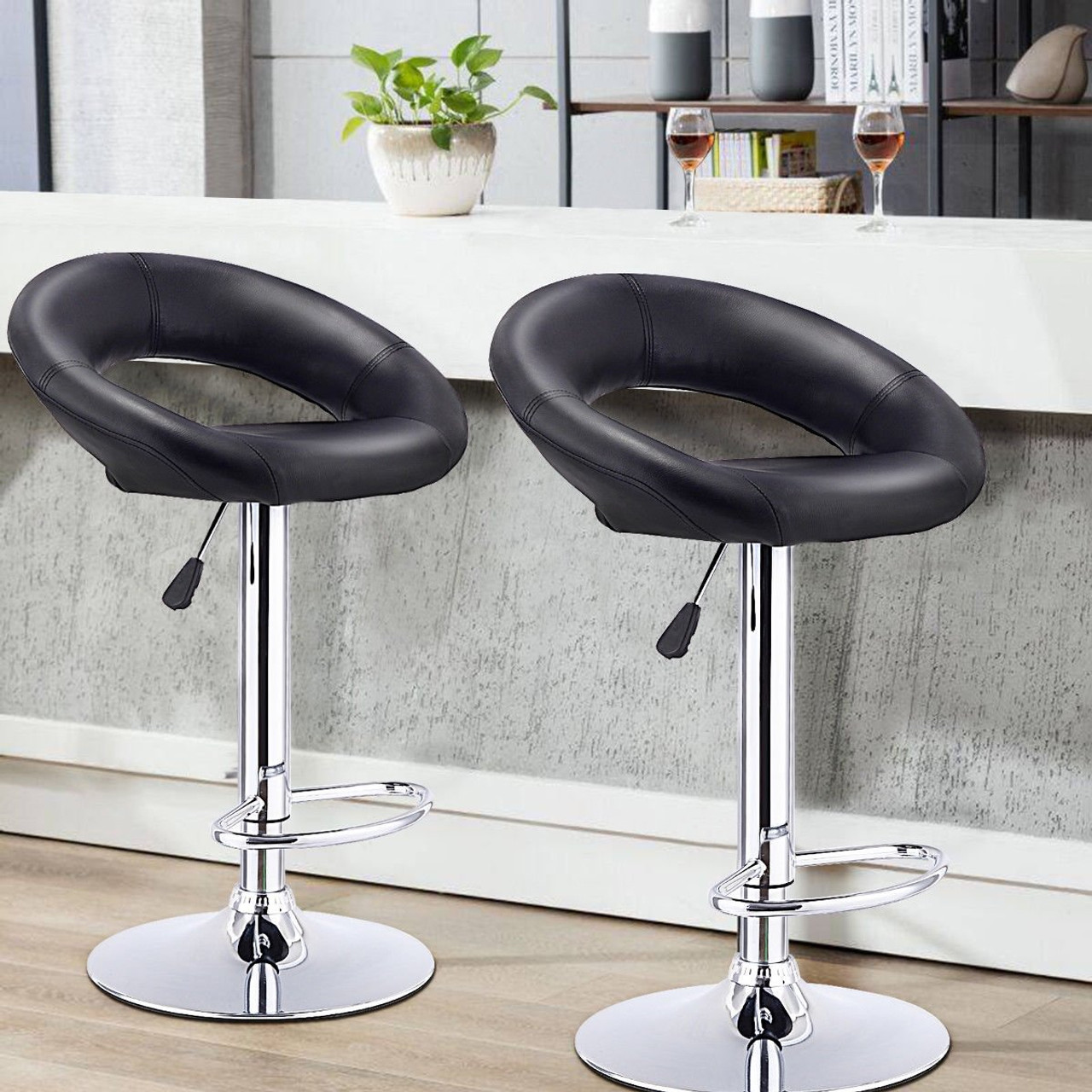 Picture of: Set Of 2 Bar Stools Adjustable Pu Leather Barstools Swivel Pub Chairs Black Hw53839bk By Cw