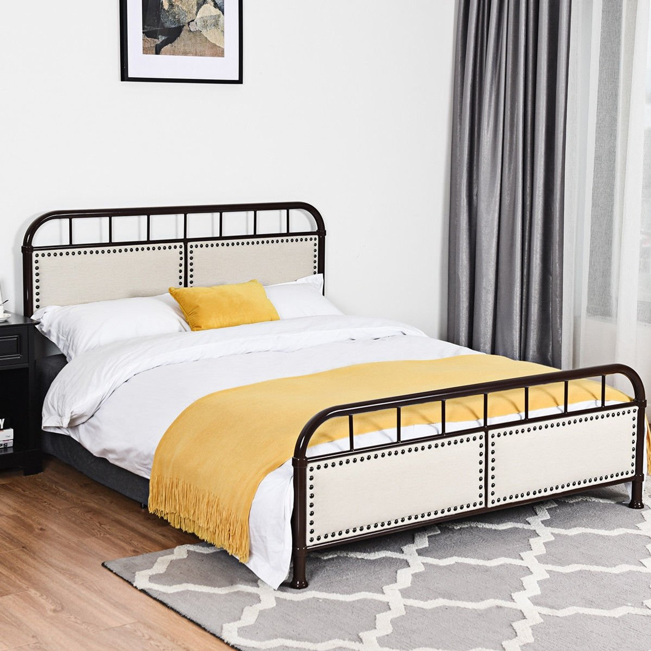 Image of: Queen Size Metal Bed Frame Platform Bed Upholstered Panel Headboard Footboard Black Hw59207bk By Cw