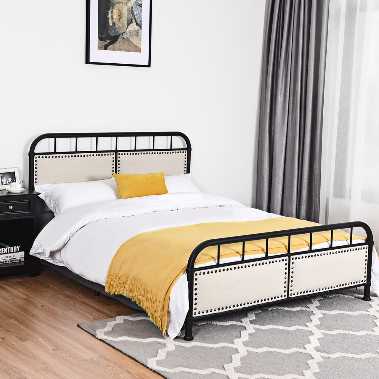 Queen Size Metal Bed Frame Platform Bed Upholstered Panel Headboard Footboard Black Hw59207bk By Cw