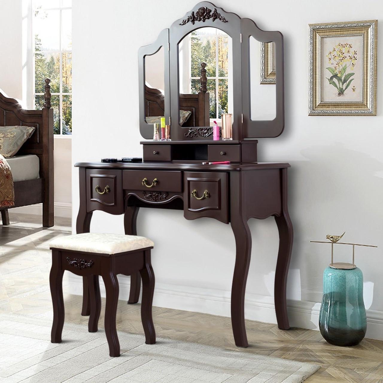 Tri Folding Vintage Vanity Makeup Dressing Table Set 5 Drawers Christmas Black Brown Hw59433cf By Cw