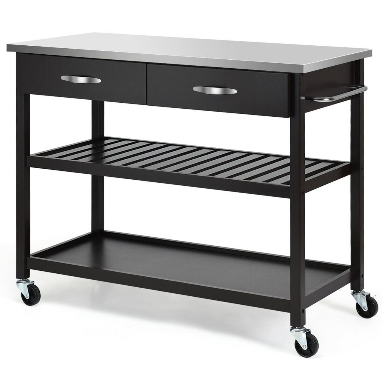 Stainless Steel Rolling Kitchen Island Trolley Cart Brown Hw60458bn By Cw