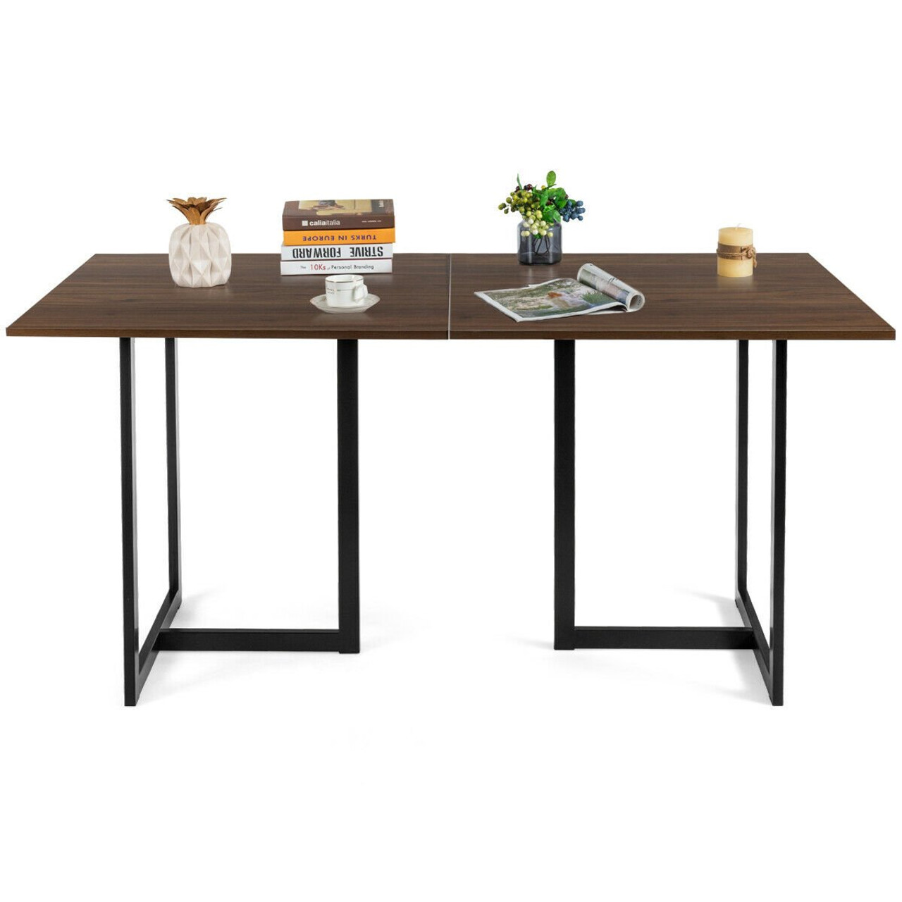 6 Person Industrial Dining Table Rectangular Kitchen Table With Metal Frame Dark Brown Desk Hw61973cf 2