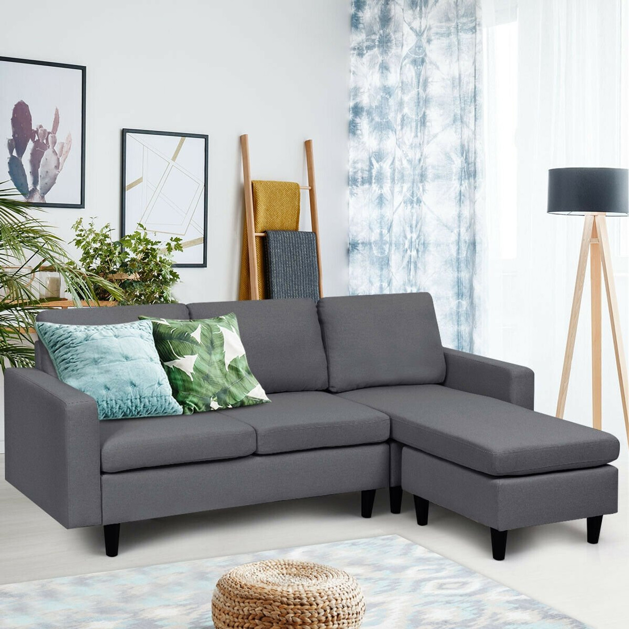 Cw Hw65239sh Convertible Sectional L Shaped Couch With Reversible Chaise Dark Gray