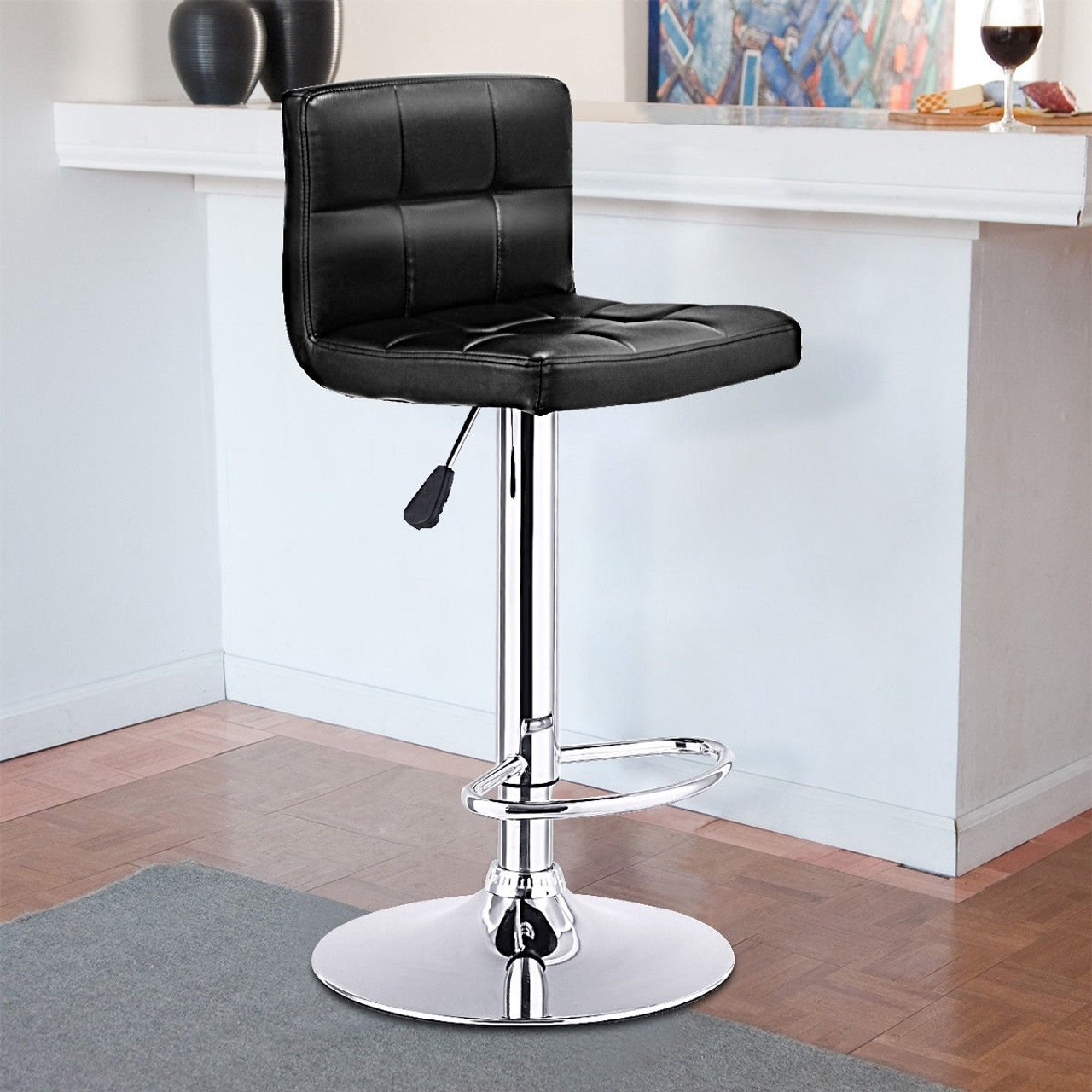 Picture of: Cw Hw65633bk 1 Pc Bar Stool Swivel Adjustable Pu Leather Barstools Bistro Pub Chair Black