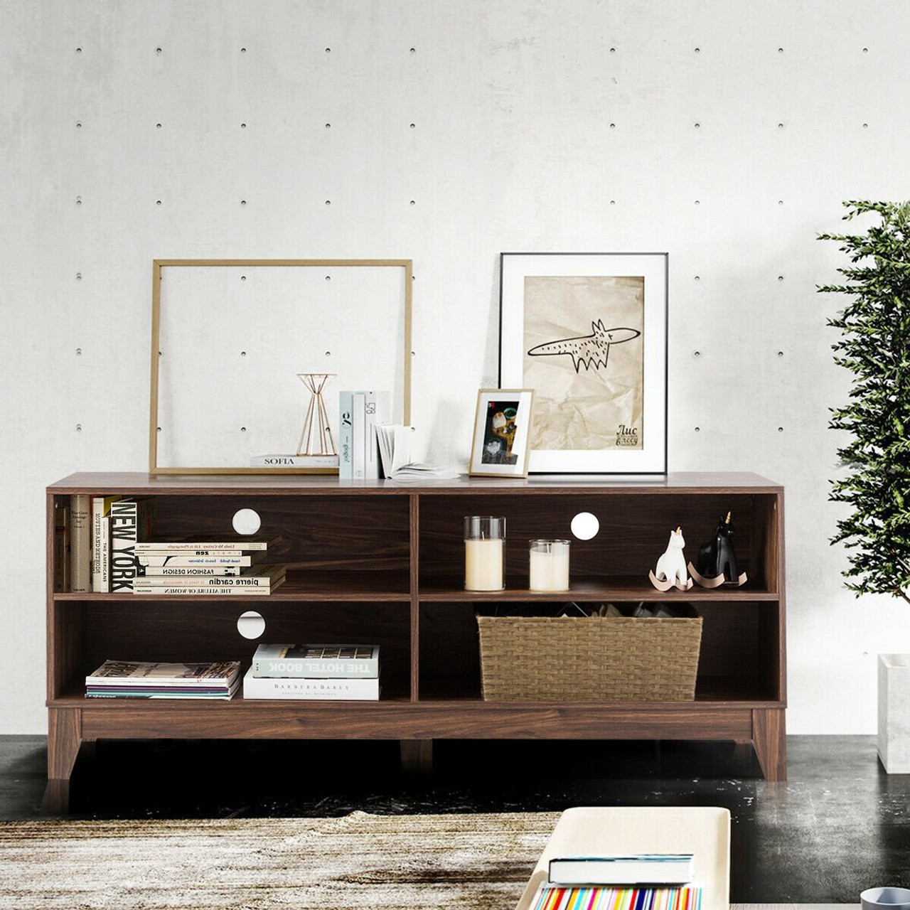 58 Modern Entertainment Media Center Wood Tv Stand Walnut Hw60356wt By Cw