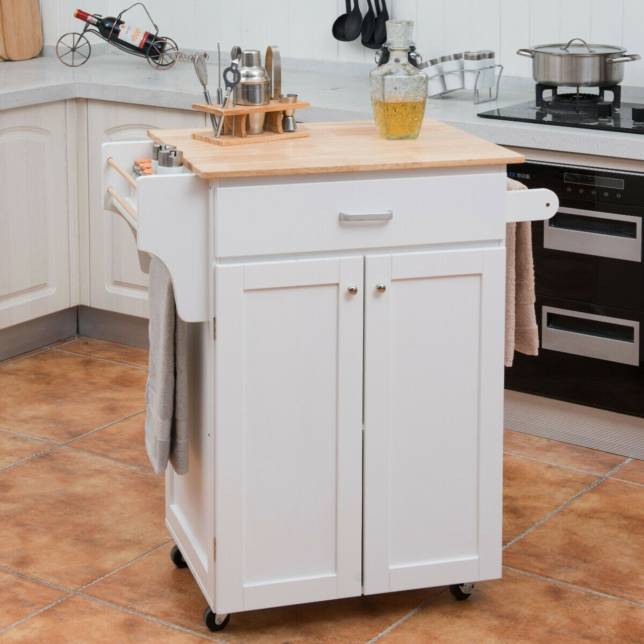 Image of: Rolling Kitchen Island Cart Storage Cabinet With Spice Rack White Kc50278wh By Cw