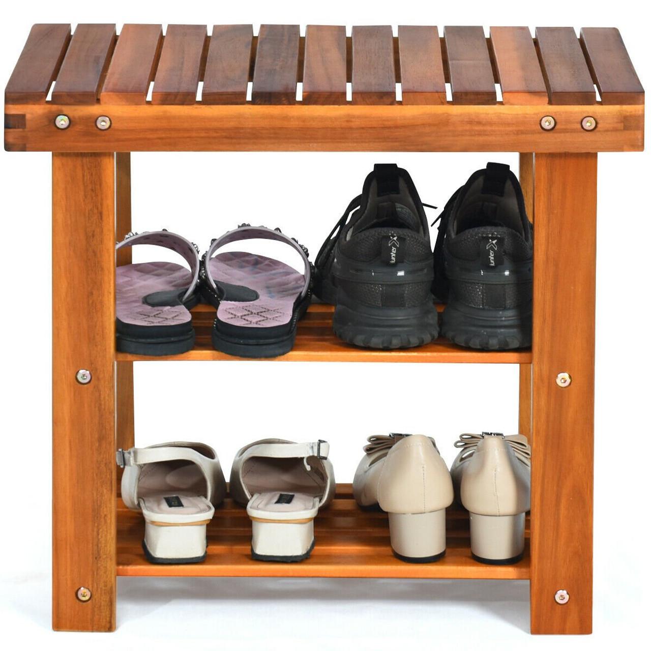 3-Tier Wood Shoe Rack 19' Shoe Bench