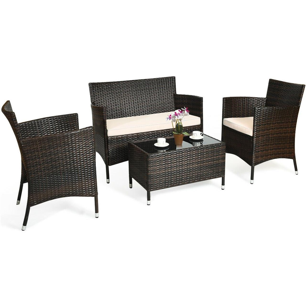 4 Pcs Patio Rattan Conversation Set Outdoor Wicker Furniture Set Hw63214 By Cw
