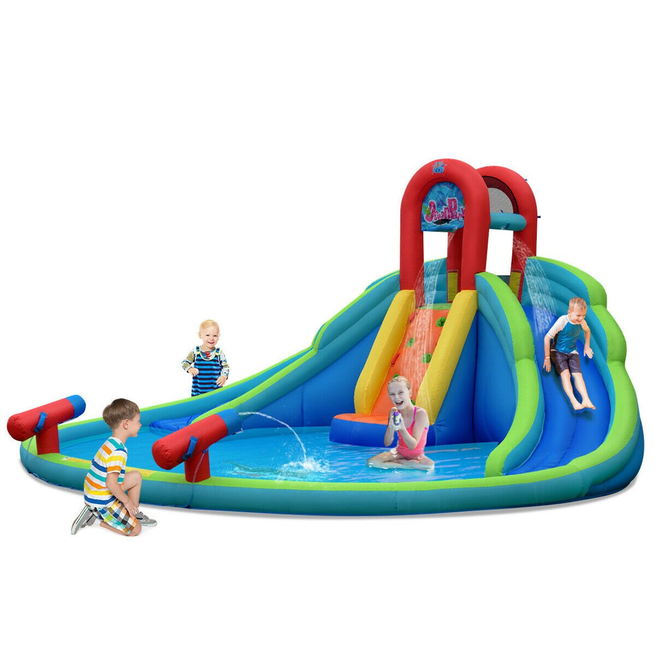 Kids Inflatable Water Slide Bounce House With Carry Bag Op70111 By Cw