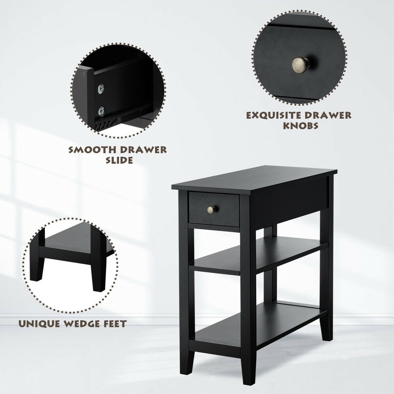3 Tier Nightstand Bedside Table Sofa Side With Double Shelves Drawer Black Hw61591bk By Cw