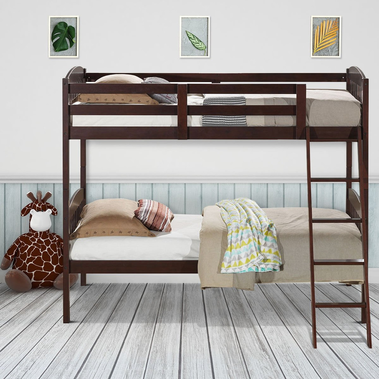 Solid Wood Twin Bunk Beds With Detachable Kids Ladder Hw58907 By Cw