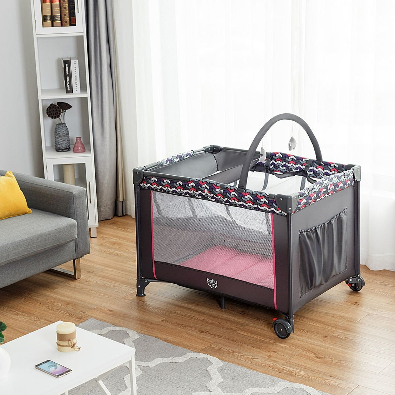 Folding Travel Baby Crib Playpen With Baby Toys Bb4922 By Cw