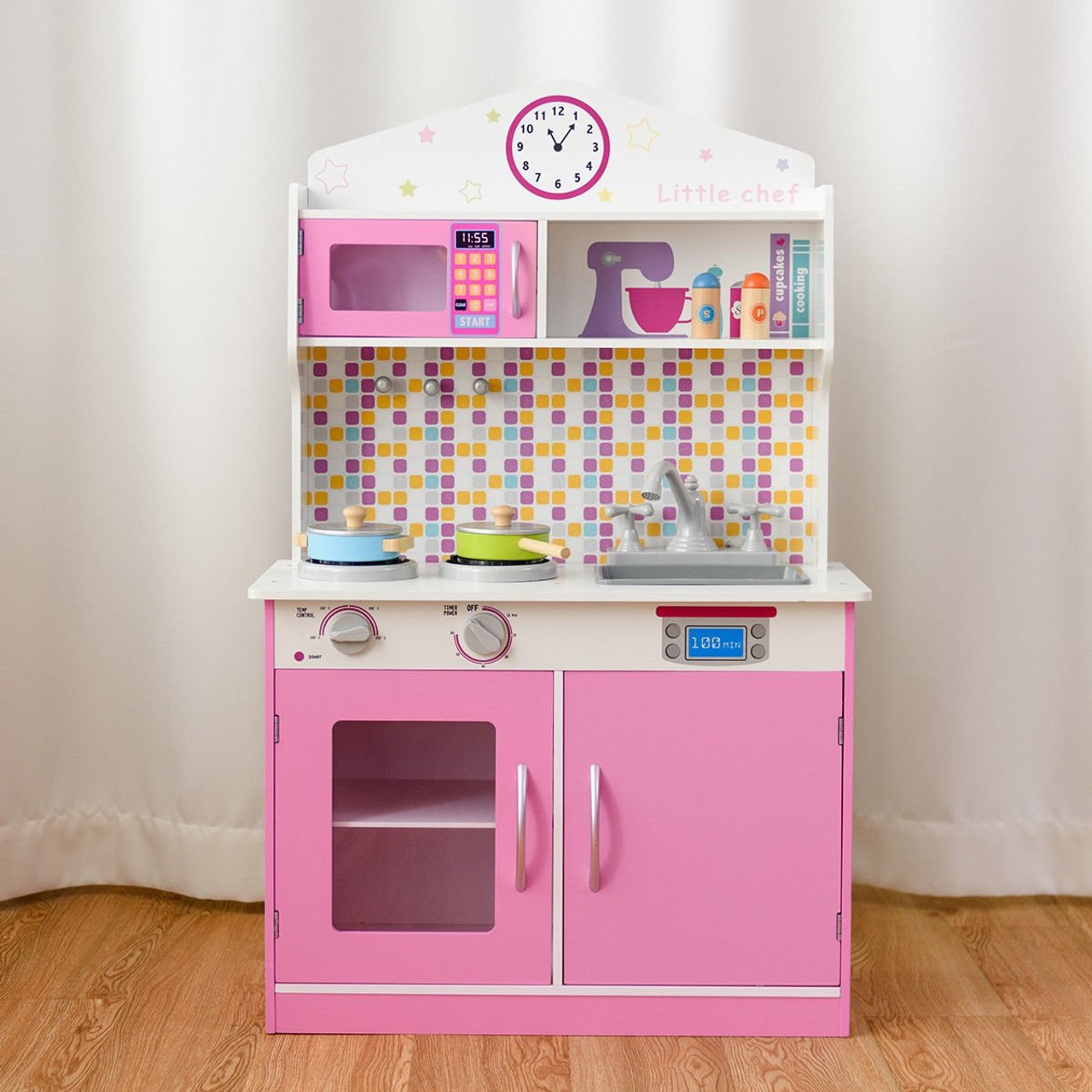 Kids Wooden Pretend Cooking Playset Cookware Play Set Kitchen Toys Toddler Gift Pink Hw58832 By Cw