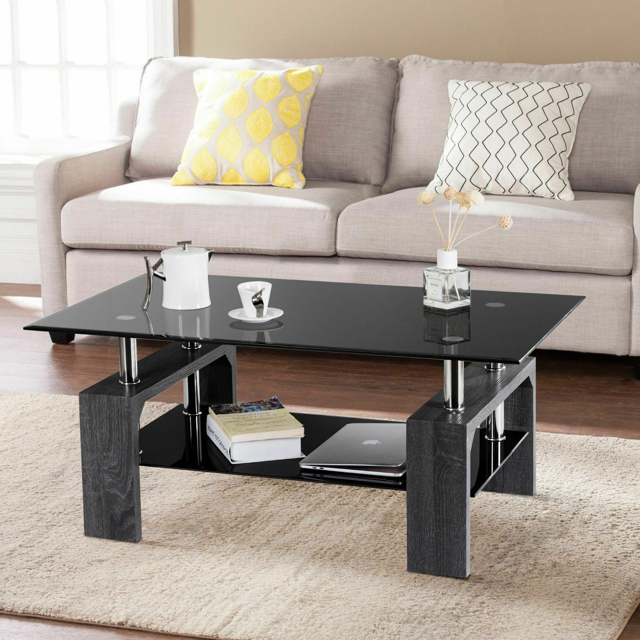 Picture of: Rectangular Tempered Glass Coffee Table With Shelf Gray Hw57279hs By Cw