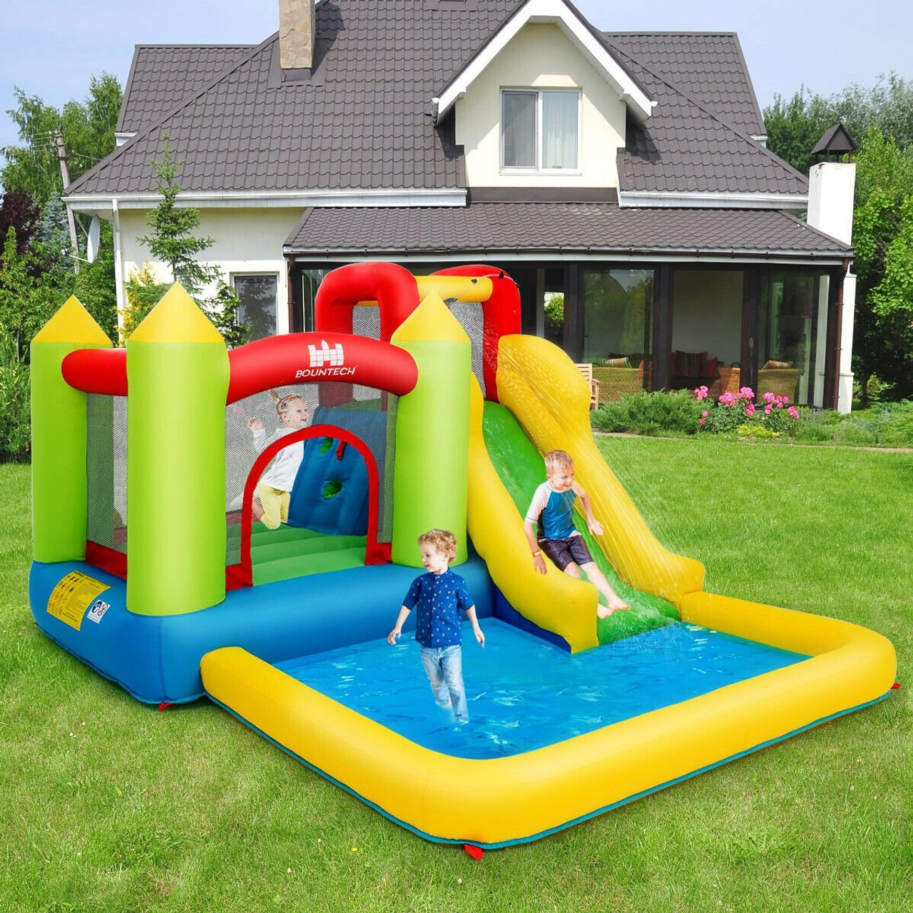 Inflatable Bounce House Water Slide Jump Bouncer Op3801 By Cw